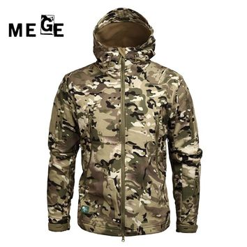 MEGE Men Jackets Outdoor SoftShell Sharkskin Winter Coat Military Army SWAT Hunting Sports Training Windproof Hoodies Clothing