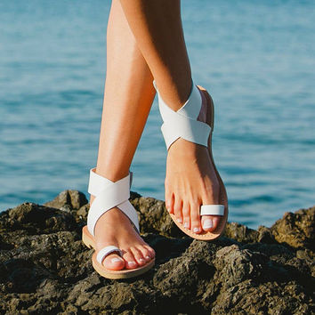 Sandals,Leather sandals,Ankle strap sandals,Greek sandals,Handmade women shoes,Summer sandals,Triskelion,DIONE,