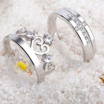 CREYKH7 Sterling silver couple rings fashion crown diamond ring