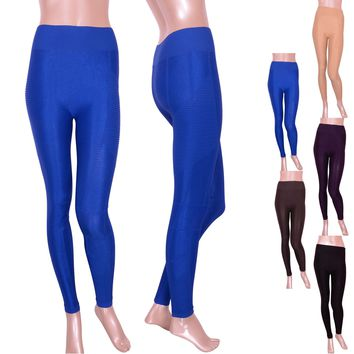 Vintage Solid Seamless High Waist Yoga Exercise Athletic Shiny Tight Pant