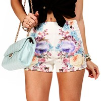 SALE-LilacIvory Pull On Shorts
