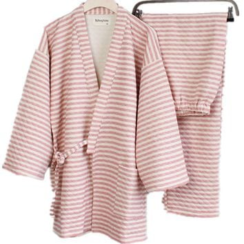 Shanghai Story Lovers' Thickening 100% Cotton Kimono Bathrobe Set Nightgown 2 Color For Women And Men