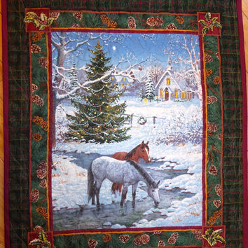 Christmas Quilted Wall Hanging - Handmade Christmas Decor