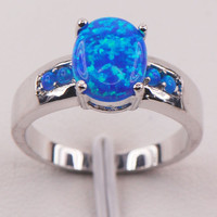 Blue Fire Opal 925 Sterling Silver Gemstone Jewelry Ring [9819392463]
