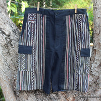 Mens Shorts Black With Brown Hmong Embroidery And Indigo Batik Cotton Large