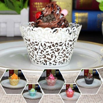 10pcs Flower Lace Hollow Out Paper Cake Cup DIY Cupcake Laser Cut Cupcake Wrapper Liner Muffin Mold Kitchen Baking Tools