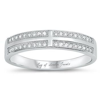 A Flawless .97TCW Russian Lab Diamond Wedding Band Eternity Ring