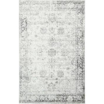 Sofia Floral Light Grey Area Rug (5' x 8') | Overstock.com Shopping - The Best Deals on 5x8 - 6x9 Rugs