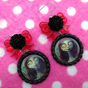 Nightmare Before Christmas Sally Dia De Los Muertos Earrings