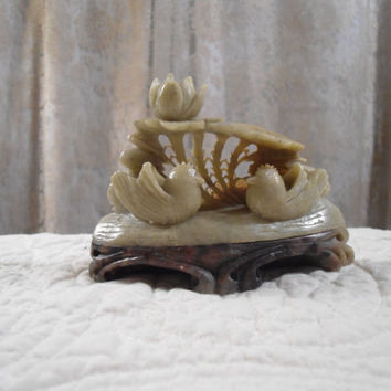 Beautiful Small Sculpture Carving by The Empress of China Collection by Sunweave Jade Marble Base Art Deco Art Nouveau Chinese Sculpture