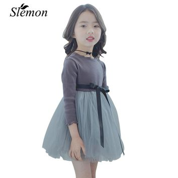 New Spring Autumn Children Girls Dress 2018 Kids Cotton Long Sleeve Princess Stitching Dresses for Little Girl 2 3 5 7 8 Years