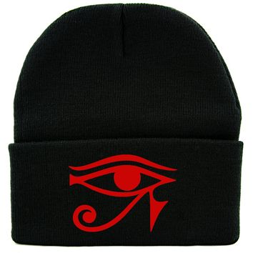 Red Egyptian God Eye of Ra Horus Cuff Beanie Knit Cap Ancient Egypt Sun God