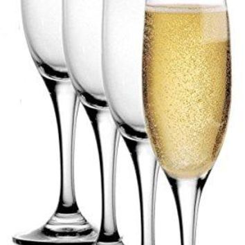 Stolzle Pack LeadFree Crystal 65oz Adela Champagne Flute Wine Glasses Set Germany 4