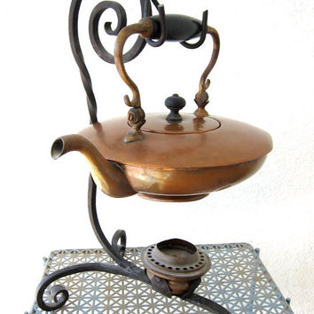 Antique Copper Tea Kettle Teapot - Wrought Iron Stand - Tea Pot Warmer - Metalware Aged Patina & Vintage Character