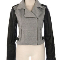Robyn's Pick - Knit and Leather Jacket - Heather Gray