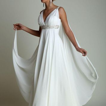 Greek Style Wedding Dresses with Watteau Train 2017 Sexy V-neck Long Chiffon Grecian Beach Maternity Wedding Gowns Grecian Brida