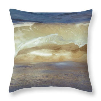 Tropical Ocean Waves Photo Art Home Decor Accent Throw Pillow. Ocean Waves Blue Seat Cushion. Nature Abstract Pillow Cover. Abstract Cushion