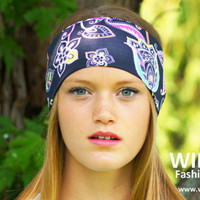 Wide boho headband, Yoga headband, Ladies fashion headband, Womens  Headwrap, Workout headband, Stretch headband, Running headband,