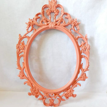 Beautiful Coral Baroque Open Frame - Ornate Frame - Home Decor - Wedding - Romantic - Nursery Decor - Picture Frame - Open Baroque Frame