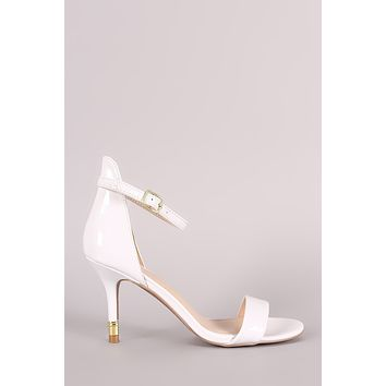 Qupid Patent Open Toe Gold Kitten Heel