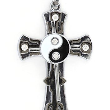 Yin Yang Cross Pendant Silver Tone MA09 Crystal Cyberpunk Statement Fashion Jewelry