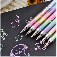 DCCKL72 1 PC New Kawaii Cute Highlighter Marker Stationary 6 Color Pen Students Ballpen For Children School Writing Supply Drop Shipping