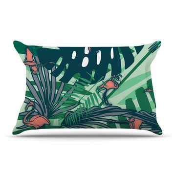 "bruxamagica ""Flamingo And Tropical Leaves"" Green Coral Animals Nature Illustration Digital Pillow Sham"