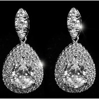 Lorian Double Halo Pear Drop Dangle Chandelier Earrings | 10ct | Cubic Zirconia | Silver