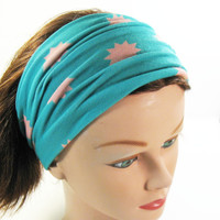 Yoga Headband - Aqua with Coral Stars