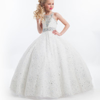 2016 Ball Gown Flower Girl Dresses Long Floor Length Lace with Crystal Rhinestone Kids Prom Dresses Girls Pageant Dresses