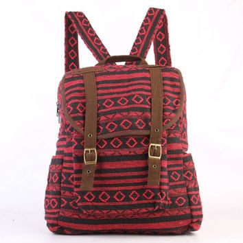Red Boho Backpack Tribal Woven For Women/ Men Day Travel Bag
