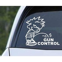 Calvin Piss on Gun Control Die Cut Vinyl Decal Sticker