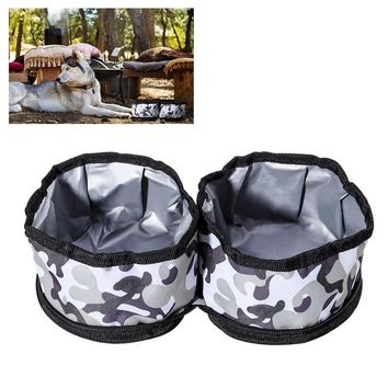 UEETEK Waterproof Travel Dog Bowl Pet Collapsible Bowls Double Food and Water Containers for Dogs and Cats
