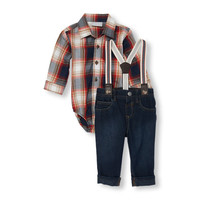 Baby Boys Long Sleeve Plaid Twill Button-Down Bodysuit Suspenders And Cuffed Jeans Set | The Children's Place