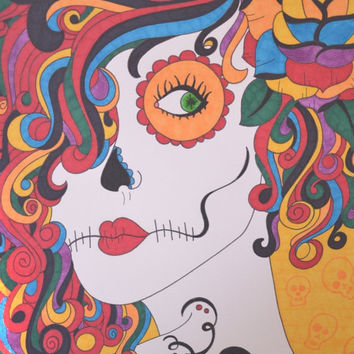 Colorful Hair Sugar Skull Girl Skull Background Sharpie 9x12 Drawing Day of the Dead Dia De Los Muertos Alternative Gift Idea Love Tattoo
