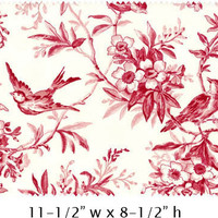 Garden of Enchantment - Red Toile - Maywood Fabric - Designer Cotton Quilt Fabric - Floral, Bird, Cream, Ivory