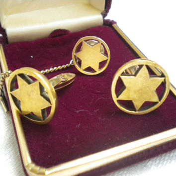 XMAS GIFT 14kt Gold Cuff links tie pin,  Unisex Cuff links, Gold Star cuff links, Cuff links & pin, Men's Gift, Women's gift, Gold jewelry