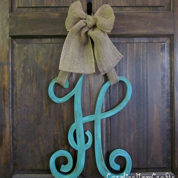 Single Letter Monogram Wooden Door Decor - 18 inches
