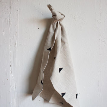Linen Triangle Block Printed Tea Towel