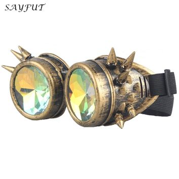 SAYFUT 2016 Multicolor Lens Cool Vintage Steampunk Goggles Glasses Welding Punk Gothic Cosplay Eyewear