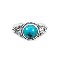 Sterling Silver Round Turquoise Stone Floral Toe Ring