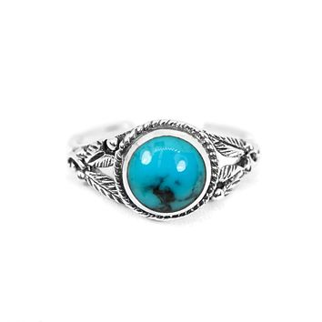 Sterling Silver Round Turquoise Stone Floral Toe Ring S&J