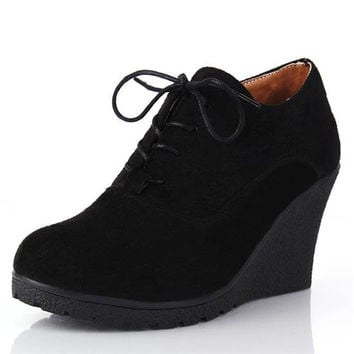 New 2016 Women Platform Wedges Fashion High Heels Lacing Wedges Shoes for Women Elengant Flock Ladies Wedge Sneakers Ankle Boots