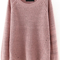 Pink Round Neck Loose Pullover Sweater