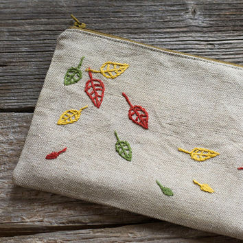 Hand embroidered Autumn Leaves on Natural Linen and Cotton Zipper Pouch, Nature Inspired Fall Accessories, Cosmetic Bag