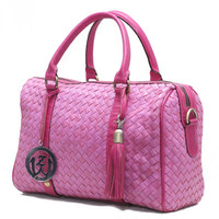 Pink Leather Women Bag /  Leather Barrel Purse / Oversize Large Leather Woven Shoulder Diaper Bag / Woman Party Bag & Wallet
