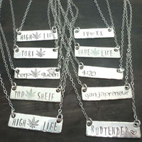 customize your own sterling silver bar necklace, high life, 420 jewelry, jewelry for stoners, handmade by the toke shop