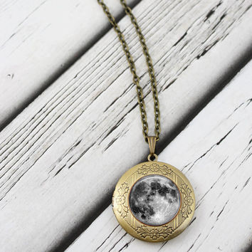Moon Locket Necklace, Antique Bronze Long Chain Locket