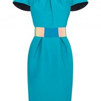 Oriel turquoise cotton and silk blend dress