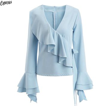 Blue Ruffle Bow Tied Side Blouse Women V Neck Layered Flared Long Sleeve Back With Zipper Fall Fashion New Top